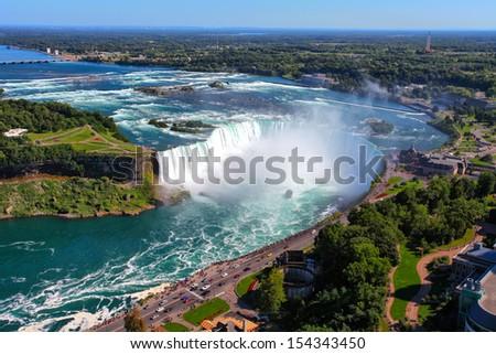 The view of the Horseshoe Fall, Niagara Falls, Ontario, Canada - stock photo
