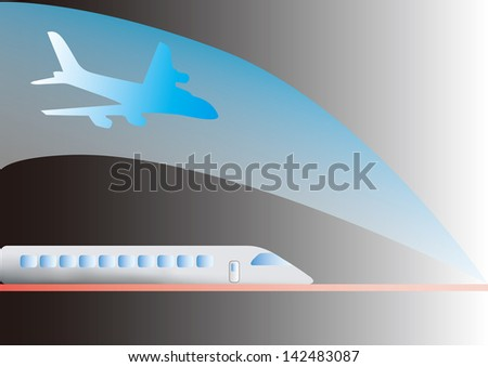 the view of the train and plane