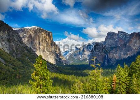 The view of the Yosemite Valley from the tunnel entrance to the Valley. Yosemite National Park, California - stock photo