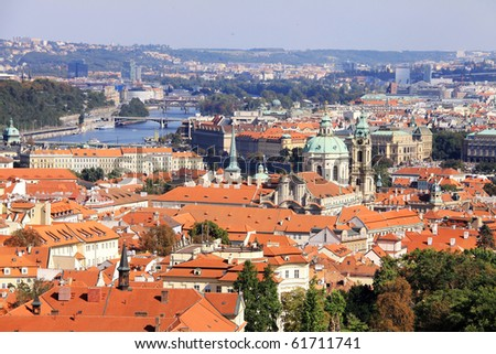 The View on autumn Prague with St. Nicholas' Cathedral