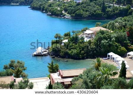The view on beach at luxury hotel, Corfu, Greece - stock photo