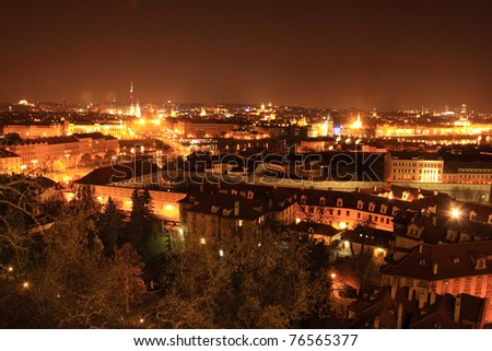 The View on bright Prague in the Night, Czech Republic