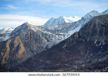 The view on Dolomiti mountains in Passo Tonale ski area, Italy - stock photo