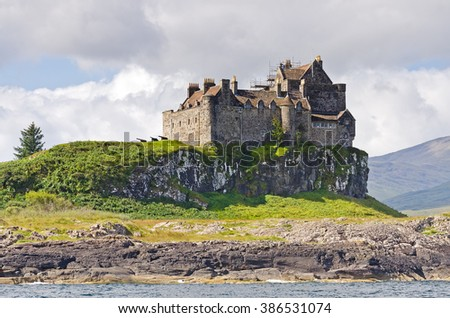 The view on Duart castle in summertime in the Hebrides on the westcoast of Scotland