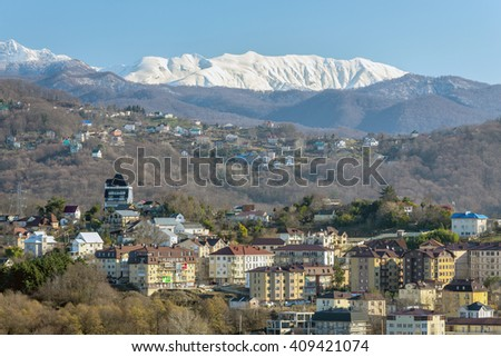 The view on Khosta district of Sochi in the morning sun. Russia - stock photo