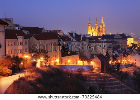 The View on Prague gothic Castle in the Night, Czech Republic - stock photo