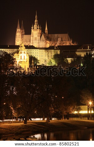 The View on Prague gothic Castle in the Night, Czech Republic