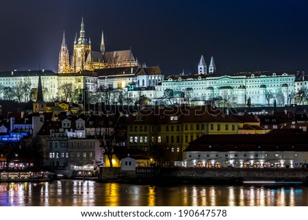 The View on Prague gothic Castle with Charles Bridge in the Night, Czech Republic