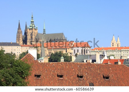 The View on Prague summer gothic Castle above River Vltava