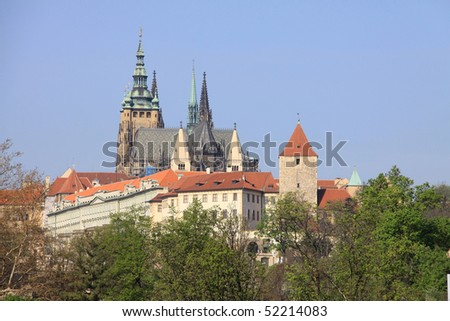 The View on spring Prague's gothic Castle above River Vltava