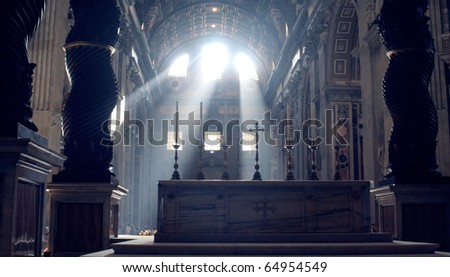 The view on the Basilica of St. Peter, Vatican - stock photo