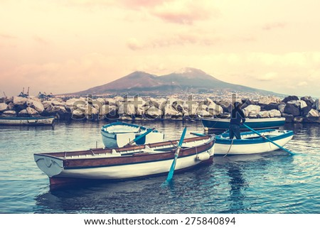The view on the mount and volcano Vesuvius in the Gulf of Naples, Italy. Toned image - stock photo