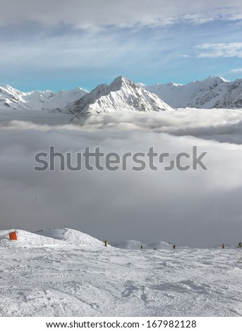 The view on the ski route slope - Mayrhofen region, Austria - stock photo