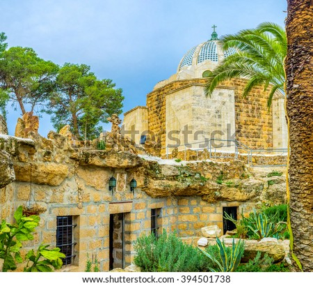 The view on the the Natural Cave Church and the Shepherds Field Chapel, the holiest places of the Shepherd's Field, Bethlehem, Palestine, Israel. - stock photo