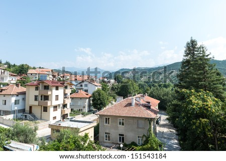 The view over sandanski from an apartment - stock photo