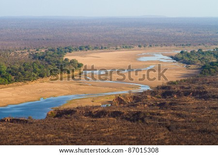 The view over the Runde River from Chilojo Cliffs viewpoint in Gonarezhou National Park - stock photo