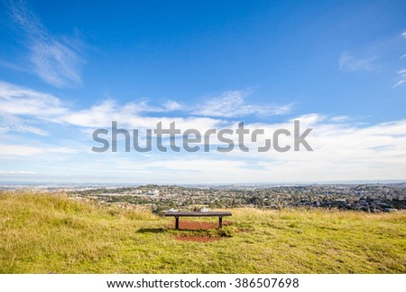 The view point of Auckland's city view from Mount Eden.   - stock photo