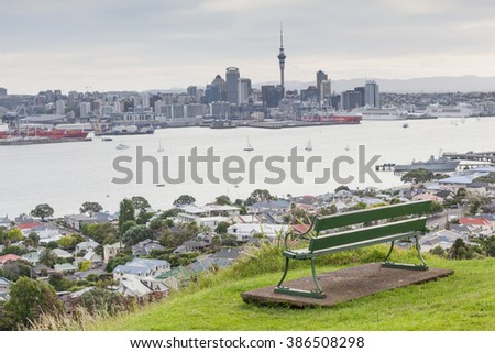 The view point of Auckland's Skyline from Mount Eden.  - stock photo