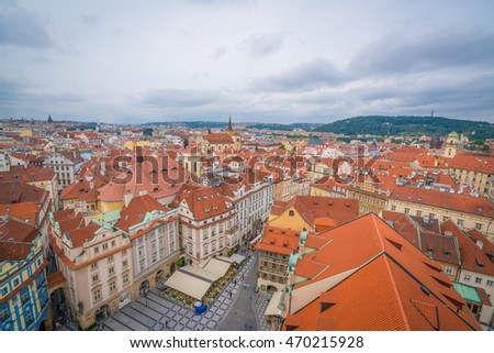 The view south from the top of the Old Town Hall in Prague, Czech Republic