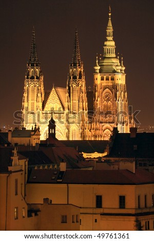 The View to bright Prague gothic Castle in the Night
