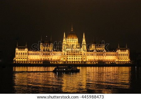 The view to Budapest parliament at night across Danube river