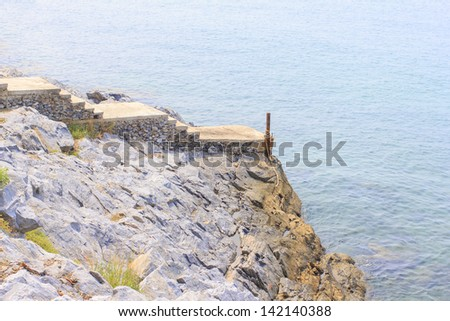 The viewpoint and small dock at Si Chang Island, Thailand - stock photo