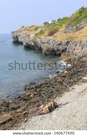 The viewpoint cliff on Si Chang Island, a small quiet and popular Island of the Eastern Thailand - stock photo
