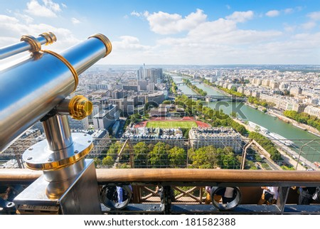 The viewpoint in the Eiffel Tower in Paris, France - stock photo