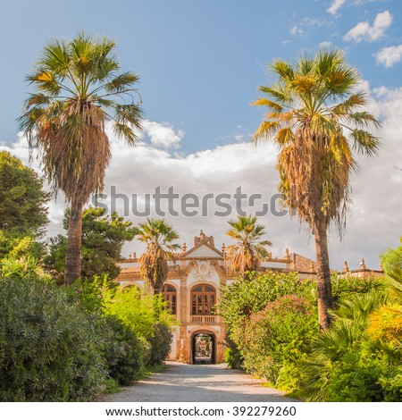 The Villa Palagonia is a patrician villa in Bagheria, 15 km from Palermo, in Sicily, southern Italy. Villa is one of the earliest examples of Sicilian Baroque. - stock photo
