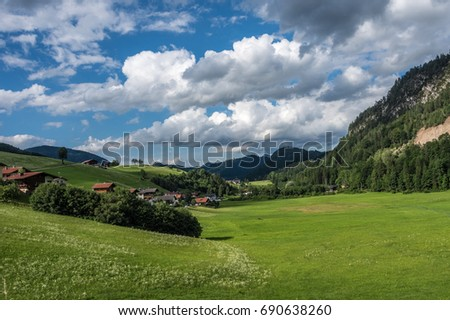 The village in moutains of Tyrol, Austria .