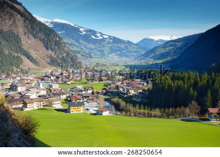 the village mayrhofen in the ziller valley - stock photo