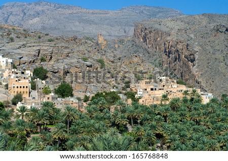 The village Misfat, sultanate Oman  - stock photo