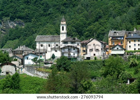 The village of Dangio on the Swiss alps