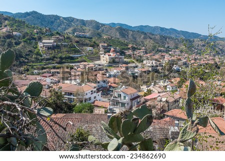 The village of Galata in the Troodos Mountains of central Cyprus, an island in the Mediterranean.