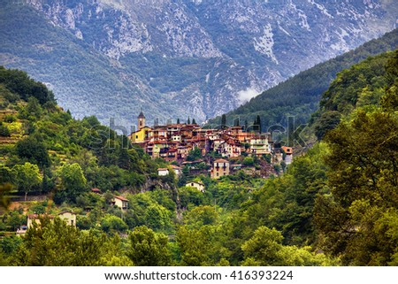 The Village of Lantosque, Alpes-Maritimes, Provence, France - stock photo