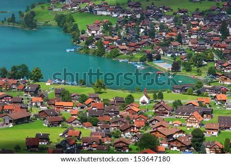 The village of Lungern in Switzerland - stock photo