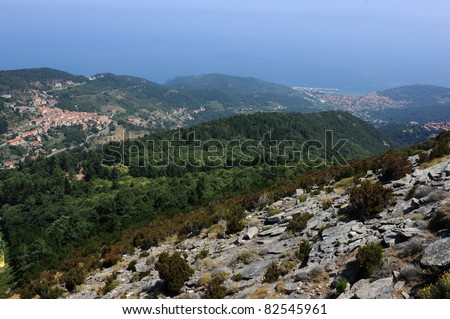 The village of Marciana and Marciana Marina from Monte Capanne on Elba island