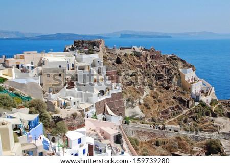 The village of Oia (Santorini Island - Greece) - stock photo