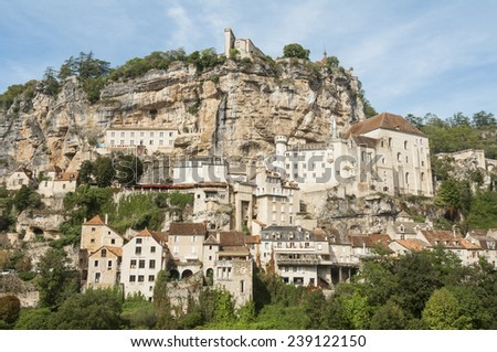The village of Rocamadour in Midi-Pyrenees (France) - stock photo