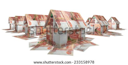 The village of the small houses, built of banknotes 5,000 rubles  - stock photo