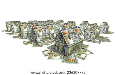 The village of the small houses made of bills for $ 100 - stock photo