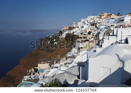 The village of Thira on the Greek island of Santorini