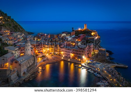 The village of Vernazza at twilight. Cinque Terre, Italy. Unesco World Heritage Site. - stock photo