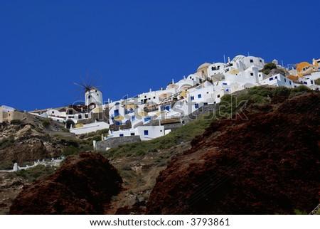 The village on volcano, Santorini island, Cyclades, Greece - stock photo