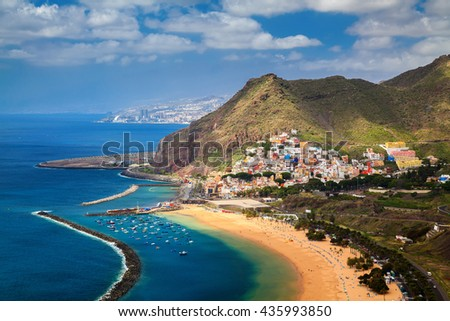 the village San Andres and famous Las Teresitas beach, Tenerife, Canary Islands, Spain - stock photo