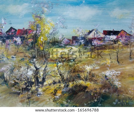 The village spring, oil painting art background