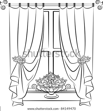 The Vintage Curtain With Flowers.