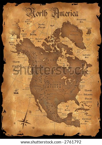 The vintage map of North America - stock photo