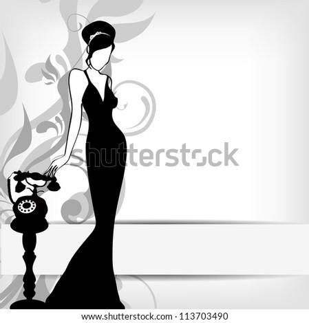 the vintage retro woman silhouette background - vector version in portfolio - stock photo