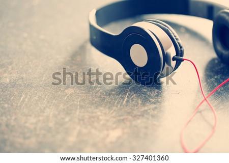 the vintage shot of headphones - stock photo